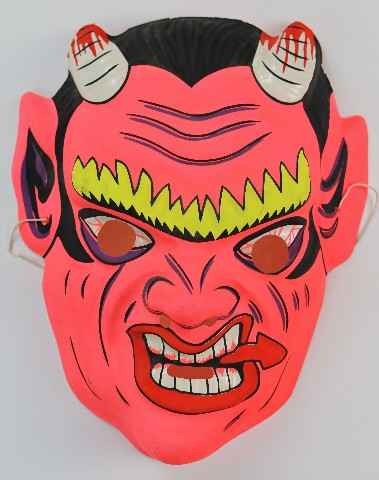 Vintage Devil Halloween Mask Demon Oni Hannya Monster Bloody Creepy Scary Horror