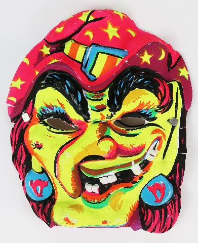 Vintage Wicked Witch Halloween Mask Fun World Monster 1960's 1970's