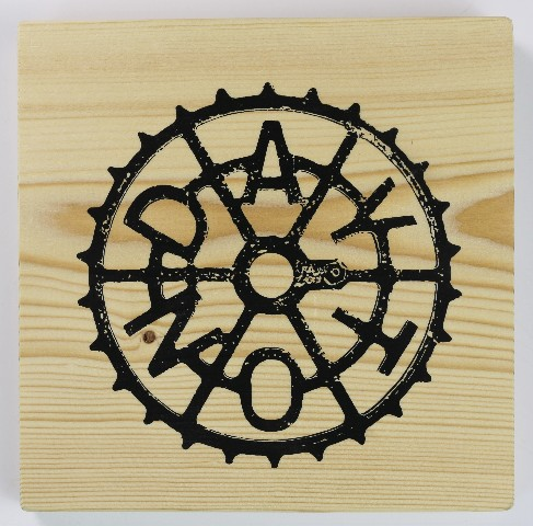 Dayton Sprocket Ohio Screen Printed Wood Tile Huffy Wall Decor W Easy Hanging Bracket Office Decor