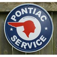 Pontiac Service Round logo vintage repro Tin metal Sign Man Cave Garage star A42