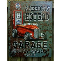 American Hot Rod Garage Muscle Car Roadster Gas Pump Tin Sign Great Man Cave 7
