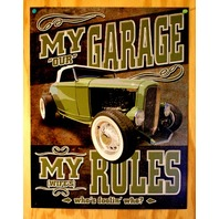 My Garage My Rules Not Really Tin Sign Hot Rod Wife Wedding Humor Muscle Car B12