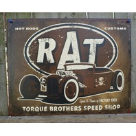RAT Hot Rod Custom Tin Sign Ford Chevy Muscle Car V8 Garage Man Cave Skull 21a