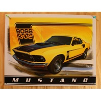 Ford Boss 302 Mustang Tin Sign GT 429 GT500 V8 Shelby Detroit Michigan F31