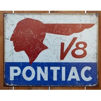 Pontiac V8 Tin Sign G6 Trans Am Prix Firebird GTO Indian Head Logo E125