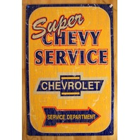 Super Chevy Service Department Tin Sign Hot Rod Garage Mechanic Chevrolet B106