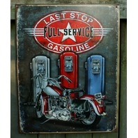 Last Stop Gasoline Tin Sign Motorcycle Bikers Gas Station Garage Man Cave S7