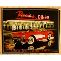 1958 Corvette Rosie's Diner Tin Sign Classic 58 Chevy Chevrolet Vette Hot Rod B8