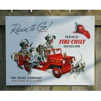 Texaco Fire Chief Gasoline Tin Sign Great Garage Man Cave Dalmatian Gas Oil s28