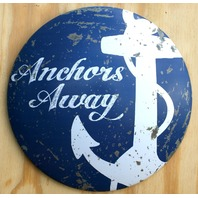 Anchors Away Round Dome Tin Metal Sign Blue Anchor Boat Ship Yacht Sailing D2