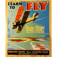 Learn To Fly Tin Sign Aviation Pilots Biplane airplane Flying Lessons Sky E105