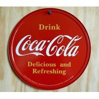 Drink Coca Cola Tin Round Sign Kitchen Decor Soda Pop Classic Logo Garage A44