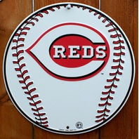 Cincinnati Reds Metal Round Sign MLB Baseball Cincy Votto Phillips Chapman G111