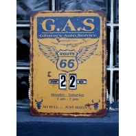 Route 66 Metal Perpetual Calendar Tin Sign Gibsons Auto Service Gas & Oil D41