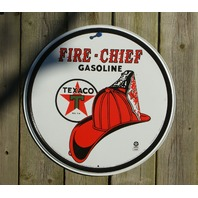Texaco Fire Chief Gas Tin Metal Round Sign Garage Man Cave Gasoline Oil Star