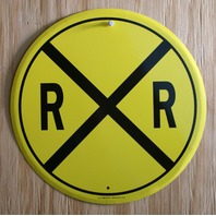 Railroad Crossing Tin Metal Round Sign Train R x R Caution Sign HO Scale D43