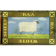 White Sheep Tin Metal Sign Country Kitchen Home Farm Green Gift Wool Fleece s30