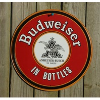 Anheuser Budweiser Beer round Tin Sign Garage Man Cave Bar Bottles Eagle Beer S2