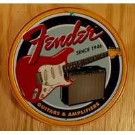 Fender Stratocaster Tin Round Sign Combo Amplifier Amp Twin Reverb Strat
