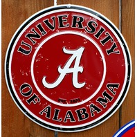 University of Alabama Crimson Tide Metal Round Sign NCAA College Football B8