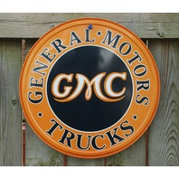 GMC Tin Metal Round Sign Man Cave Garage General Motor Trucks Chevy Canyon A17