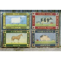 Country Animal Tin Sign Set of 4 Farm Kitchen Home Sheep Horse Pig Cow