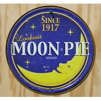 Lookout Moon Pie Round Tin Metal Sign Candy Treat Snack Classic Ad Kitchen F65
