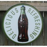 Coca Cola Tin Metal Round Sign Kitchen Coke Decor Soda Pop Bottle Classic