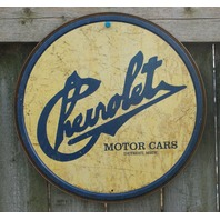 Chevrolet Tin Round Sign Man Cave Garage Chevy Corvette Motor Classic Logo