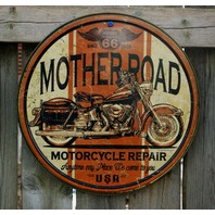 Mother Road Repair Tin Round Sign Man Cave Garage Triumph Motorcycle Rt 66 A38