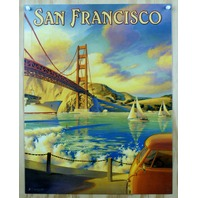 San Francisco Tin Metal Sign Golden Gate Bridge California Travel Bay Side G55
