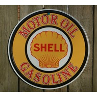 Shell Motor Oil Round Tin Metal Vintage Style Sign Garage Gas Classic Logo B20