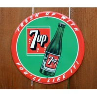 7 Up Soda Pop Tin Metal Sign Fountain Drink Classic Advertisement Bottle 7up C71