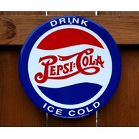 Drink Ice Cold Pepsi Cola Tin Metal Sign Fountain Drink Soda Pop Kitchen C72