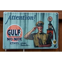 Gulf No Nox Tin Metal Sign Garage Gasoline Standard Gas Station Oil C36