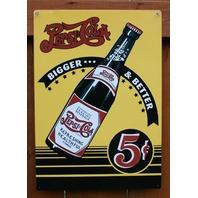 Pepsi Cola Bigger & Better Tin Sign Bottle Soda Pop bottle Yellow & Black Ad C59