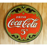 Coca Cola 5 cent Tin Metal Round Sign Soda Pop Bottle Classic Logo Green Red