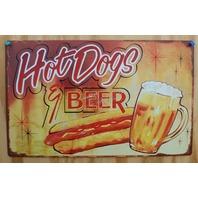 Hot Dogs & Beer Tin Sign Vintage Look Dog Diner Food Kitchen Decor Garage G87