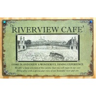 River View Cafe Tin Sign River Boat Cincinnati Pittsburgh Ohio Mississippi D15