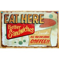Eat Here Tin Sign Diner Food Sandwiches Coffee Shop Restaurant Vintage Look G88