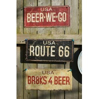 3 License Plate Tin Sign Combo Route US 66 Brakes 4 Beer We Go Man Cave Bar B79