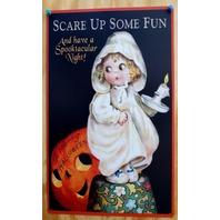 Scare Up Some Fun Tin Sign A Merry Halloween Trick Or Treat Pumpkin Ghost B2