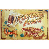Varsity Drive In Root Beer Floats Tin Sign Vintage Look Diner Food Fries Pop B26