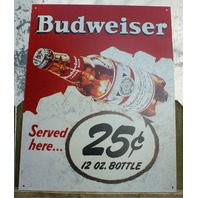 Budweiser Served Here Tin Sign Comedy Beer Bar Garage Mancave bud bottle S2