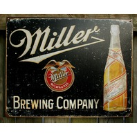 Miller Brewing Company Tin Sign Beer Bar Garage Man Cave Business Bottles F109