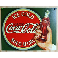 Coca Cola Sold Here Tin Sign Soda Pop Coke Pepsi Classic Advertisement  22a