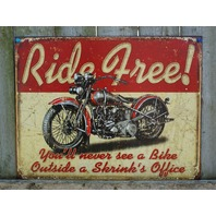 Ride Free Motorcycle Tin Metal Sign Man Cave Garage Classic Bike Hog Road 23