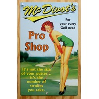 McDivot Pro Shop Tin Metal Sign Pin Up Girl Golf tee golfers gift Club pinup Z83