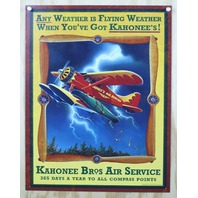 Kahonee Bros Air Services Tin Sign Alaska Hunting Fishing Camping Cabin F29