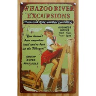 Whazoo River Excursion Tin Sign Pin Up Girl Canoe Boat Outdoors Camping Wazoo
